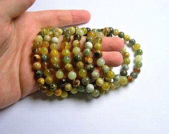 New Jade - 8mm round beads - 23 beads - 1 set - A quality -  Flower Jade  - HSG59