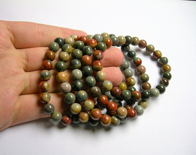 Polychrome jasper - 8mm round beads  - 23 beads - 1 set - A quality - HSG35