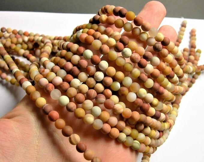 Petrified wood - 6mm round beads - Matte - full strand - 63 beads - Madagascar petrified wood - RFG1284