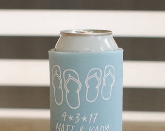 Beach Wedding Favors - Personalized Wedding Can Coolers, Reception Favors for Guests, Summer Wedding, Beer Insulators, Stubby Holders