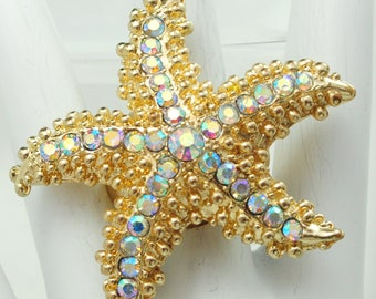 Gold Starfish Ring/Aurora Borealis/Beach/Ocean Jewelry/Gift For Her/Summer Jewelry/Adjustable/Under 20 USD