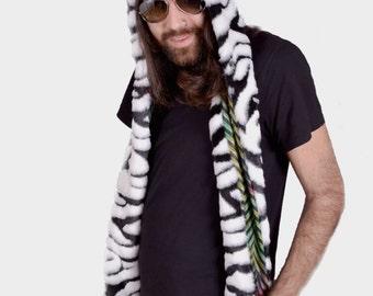 SALE! Faux Fur Zebra Hat- Full Size