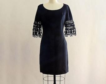 1960's GoGo Black Shift Dress // Open Weaved Sleeves // 1960's Little Black Dress // Mod Rayon Black Dress // GoGo Dress // Size Medium