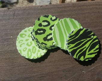 10 Bright Green Animal Print Scallop Gift Tags - Glossy Hang Tags - Cardstock Party Favors - Zebra and Leopard