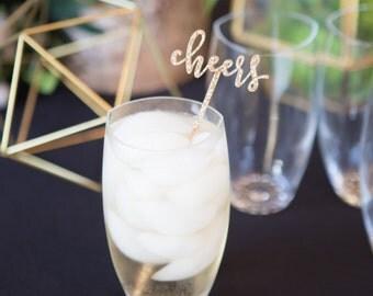 "Party Stir Sticks ""Cheers!"" Glitter Wedding, Engagement Bachelorette Bridal Wedding Drink Stirrer Bar Party Decor Glitter (Item - CSS110)"