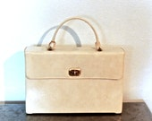 vintage ivory patent leather umbrella purse - 1950s NEW w/ original tags Celebrity patent leather box purse w/ umbrella