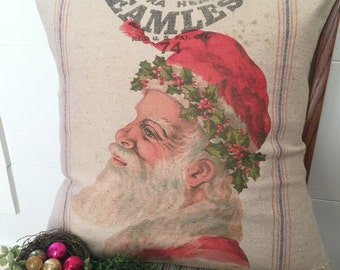 Vintage Grain Sack Pillow Cover Santa with Holly by Gathered Comforts