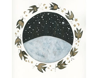 Moon Art // Original Painting // Luna & the Celestial Birds // Nursery Art