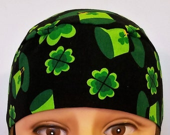 Handmade Black Skull Cap or Chemo Cap with Green Shamrocks & Hats, Surgical Cap, Hair Loss, St.Patrick's Day, Motorcycle, Do Rag, Head Wrap