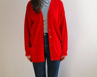 vintage red cardigan with gold buttons