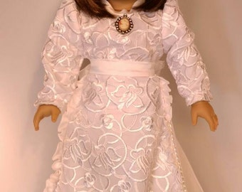 """Collectable White satin lace two piece blouse and skirt victorian set fits dolls like American Girl and 18"""" dolls, bridal,"""