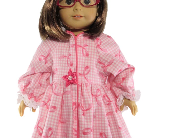 pink flannel doll robe in a breast cancer ribbon print fits 18 inch dolls