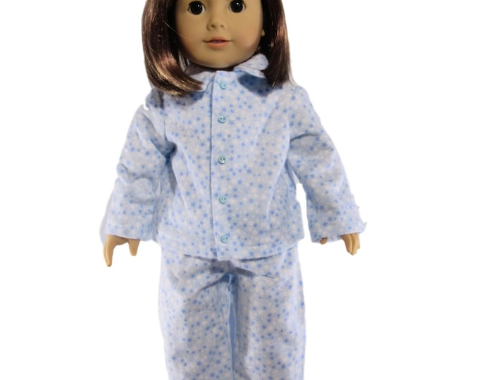 Blue stars flannel pajamas fits 18 inch dolls like american girl