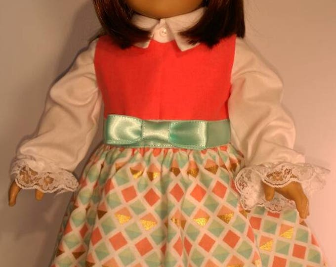 Teal and coral geometric print doll dress, white long sleeve shirt, matching shoes for 18 inch dolls