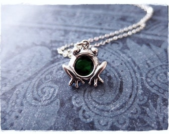 Emerald Green Crystal Frog Necklace - Emerald Green Crystal Sterling Silver Frog Charm on a Sterling Silver Cable Chain or Charm Only