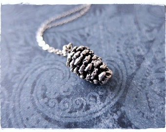 Large Silver Pine Cone Necklace - Sterling Silver Pine Cone Charm on a Delicate Sterling Silver Cable Chain or Charm Only