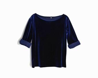 Vintage 90s Velour Top in Midnight Blue / Boatneck Velvet Top / Navy Blue Velvet - women's medium