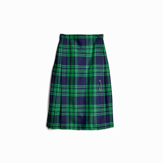 Vintage 60s Plaid Wool Wrap Skirt in Green & Navy / Tartan Plaid Skirt / Green Plaid Kilt Oversized Safety Pin - women's xs