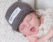 Personalized Baby Boy Hat - Coming Home Outfit - Baby Name Hat - Gray Newsboy Hat - Monogrammed Baby Clothes - Custom Baby Accessories