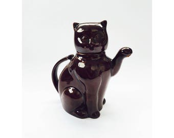Vintage Brown Cat Teapot