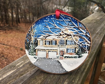 Personalized House, Home ornament, Housewarming gift, original acrylic wood slice painting ARRIVES AFTER CHRISTMAS