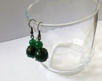 Dark Green Earrings Glass, Green Jewelry Earrings Handmade, Glass Earrings for Women, Green Glass Earrings Dangle, Green Dangle Earrings