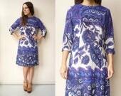 1970's Vintage Hippie Psychedelic Swirl Print Jersey Midi Dress Size Medium