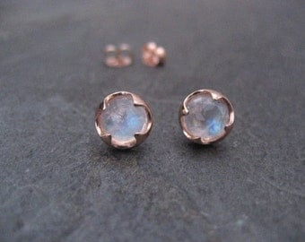 Moonstone studs, 14k rose gold, rose cut jewelry, rainbow moonstone, blue flash, thorn setting, round studs, gift for her