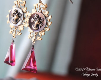 Forget Me Not--Victorian Hand Flower Button Brass Garland Rubelite Quartz Rhinestone EARRINGS