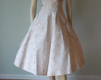 1950s Brocade Halter Party Dress / Sculptural Detail / Beige Floral for Summer / Rappi Label / Small
