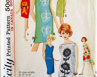 Simplcity 5309 - Shift Dress - Simple to Sew - Size 12 - Bust 32 - Three Necklines - Vintage Sewing Pattern - 1963 Dress Pattern