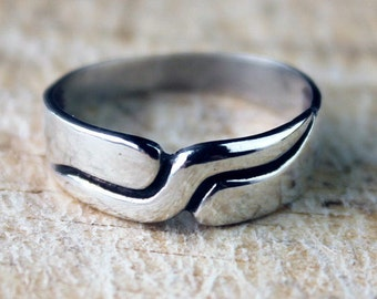 Vintage Sterling Silver Ring Puzzle Ladies Mens Unisex Jewellery 925 Solid English FREE SHIPPING Size L.5 / 6