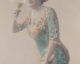 A Suffragette Celebrates 2, Hand-Tinted Vintage Postcard circa 1910s