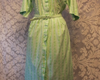 Vintage 1950s Lime Green Striped Flower Print Dress Tagged Bill Sims