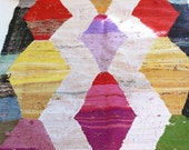 "Vintage Moroccan Kilim - BOUCHEROUITE Rug  ""harlequin"""