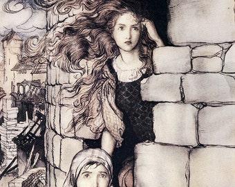 Maid Maleen,  Arthur Rackham, Vinatge Art Print