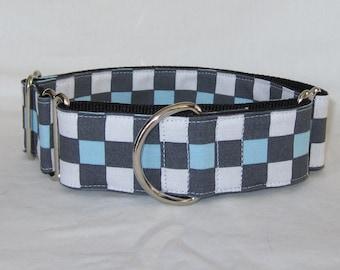 Gray Checkerboard Martingale Dog Collar - 1.5 or 2 Inch - blue white handsome square blocks