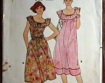 Vintage 1980s Easy to Sew Misses Very Loose Fitting Dress, Sleeveless Size Medium (12-14) Butterick Pattern 6105 Cut/Complete