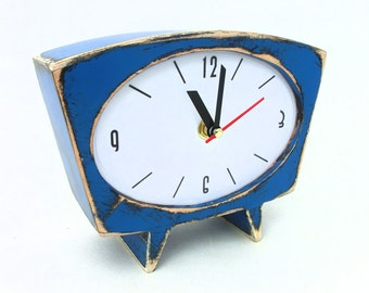 Desk Clock Blue, Wood Table clock, Vintage alarm clock style, Gift for her, Sky blue clock, Spring trends, Blue home decor