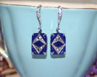 Vintage 1920s Deco Czech opaque dark blue glass silver artisan earrings