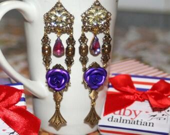 Flower rose filigree nouveau fairy queen vintage glass edwardian earrings