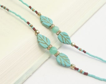 Turquoise Eyeglass Chain, Gold Eyeglass Holder Necklace, Reading Glasses Chain, Turquoise Leaf Glasses Necklace Holder, Beaded Lanyard Women
