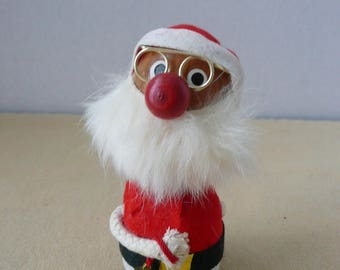 Kurt Adler Wooden Bobble Head Santa - Kurt Adler Christmas Ornament - Santa with Real Fur Beard