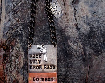 Back Away From My Bourbon ® Bottle Tag. Personalized with Name. The Riveted Series. Original Design. Layered Metal. CUSTOM Metal Bottle Tags