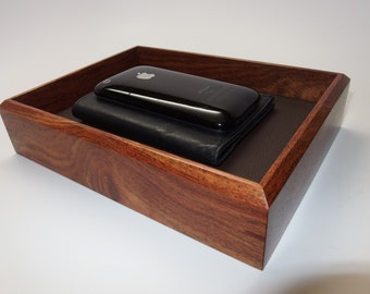 """Premium Exotic Wooden Tray. Upscale Tray. Exotic Chechen Premium Valet Box. Leather Upholstered. 8.25"""" x 6"""" x 1.75"""". Watch Tray."""