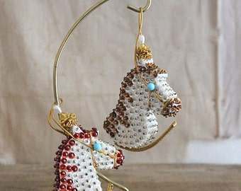 Vintage Sequin and Bead Horse Ornaments