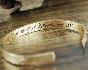Go Confidently in the Direction of your Dreams, Graduation Jewelry, Message Bracelet, Personalized Cuff, Quote Bracelet, Gift for Graduate