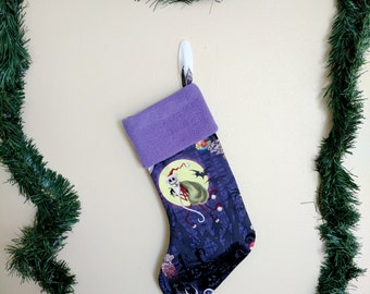 Nightmare Before Christmas / Jack Skellington stocking with purple fleece cuff.