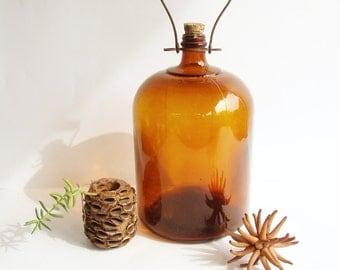 Old Large Bottle, Amber Glass Bottle, Gallon Bottle, Metal Handle, Cork Stopper, From Australia, Industrial Rustic Decor, Brown Amber Glass