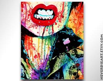 5x7, 8x10, or 11x14 in Signed Art Print- Try Me - Punk Rocker Oi Chick Pop Art Rainbow Splatter Portrait Lowbrow Punk Rock Popart Poster